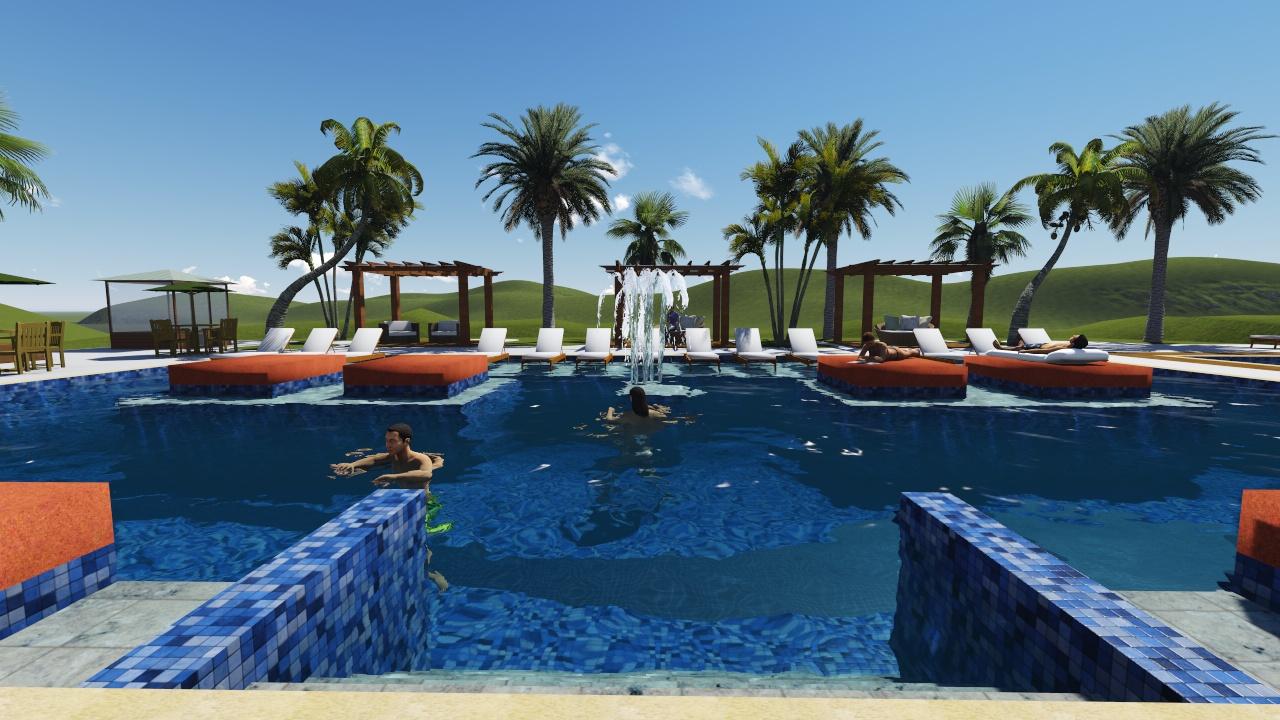 Piscina resort bh projetos em hotel clube academia for Piscina 3d